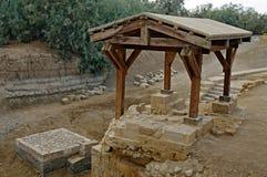 De plaats waar Jeasus werd gedoopt. stock afbeelding