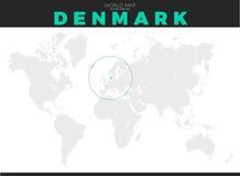 De Plaatskaart van Denemarken Stock Foto's