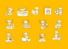 De plaatspictogrammen van het karakter Stock Foto