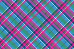 De plaid naadloos patroon van de stoffen textiel blauw roze groen controle royalty-vrije illustratie