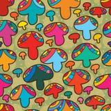 De plak naadloos patroon van de paddestoelstijl Royalty-vrije Stock Afbeeldingen