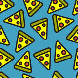 De plak naadloos patroon van de pizza Stock Afbeeldingen