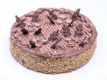 De plak van de chocoladecake met krul op witte achtergrond Mening van hierboven royalty-vrije stock foto