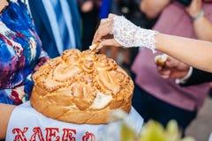 De plak van de bruidegomholding van traditionele huwelijksronde Royalty-vrije Stock Foto's