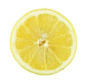 De plak van de citroen die op witte achtergrond wordt geïsoleerdi. Royalty-vrije Stock Fotografie
