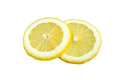 De plak van de citroen die op witte achtergrond wordt geïsoleerdt Royalty-vrije Stock Foto's