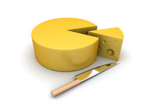 De plak van de kaas en een mes Royalty-vrije Stock Afbeeldingen