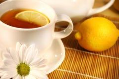 De plak van de thee en van de citroen royalty-vrije stock foto