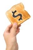 De plak van het brood met dollarteken Royalty-vrije Stock Foto
