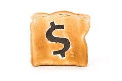 De plak van het brood met dollarteken Royalty-vrije Stock Afbeelding