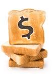 De plak van het brood met dollarteken Stock Fotografie