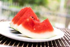 De plak van het watermeloenfruit Stock Foto's