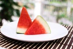 De plak van het watermeloenfruit Stock Afbeelding