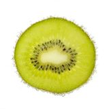 De plak van Nice van kiwi, met geïsoleerde die bellen wordt behandeld Royalty-vrije Stock Foto's