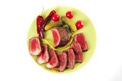 De plakken en de brok van het vlees Stock Foto's