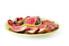 De plakken en de brok van het vlees Stock Fotografie
