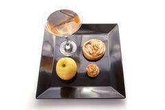 De Plakken van de appeltaart met Drank Royalty-vrije Stock Fotografie