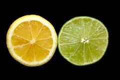 De Plakken van de citroen en van de Kalk Stock Fotografie