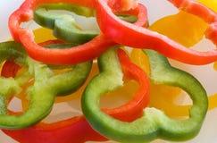 De Plakken van de groene paprika Stock Foto's