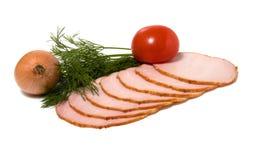 De plakken van de groente en van het vlees die op wit worden geïsoleerd Stock Fotografie
