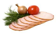 De plakken van de groente en van het vlees die op wit worden geïsoleerdr Royalty-vrije Stock Afbeelding