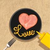 De plakken van de hartham met liefde het van letters voorzien Royalty-vrije Stock Foto