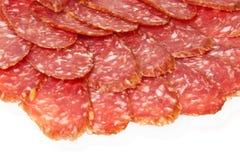 De plakken van de salami Stock Afbeelding