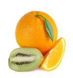 De plakken van de sinaasappel, van de citroen en van de kiwi Stock Fotografie