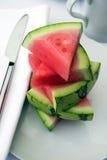 De plakken van de watermeloen stock afbeelding