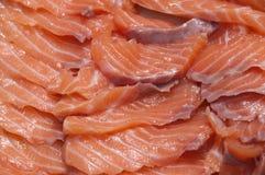 De plakken van de zalm voor sashimi Stock Foto