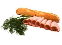 De plakken van het brood en van het vlees die op wit worden geïsoleerd Royalty-vrije Stock Foto's