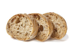 De plakken van het brood op wit Royalty-vrije Stock Afbeelding