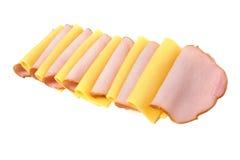De plakken van het vlees en van de kaas Stock Foto