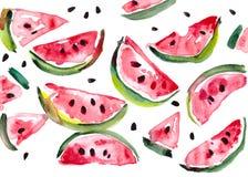 De plakken van de watermeloen die op witte achtergrond worden geïsoleerde Royalty-vrije Stock Fotografie