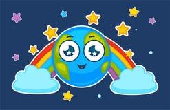 De planeet die van de beeldverhaalaarde in vectorregenboog glimlachen stock illustratie