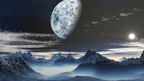 De planeet en de zonsopgang over de bergen van vreemdeling royalty-vrije illustratie