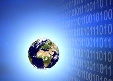 Aardeplaneet in binaire code stock afbeeldingen