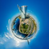 De Planeet van de gebiedhommel Huizen in stad 360 van Riga VR-luchtbeeld voor Virtuele werkelijkheid, Panorama van de torens Royalty-vrije Stock Foto's