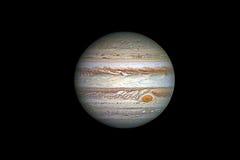 De planeet van Jupiter, op zwarte wordt geïsoleerd die