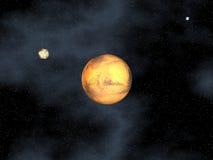 De planeet van Mars in ruimte Stock Afbeeldingen