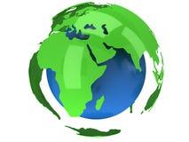 De planeetbol van de aarde 3d geef terug De mening van Afrika Stock Foto's