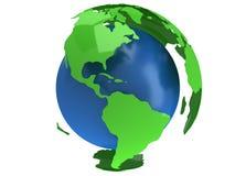 De planeetbol van de aarde 3d geef terug De mening van Amerika Stock Afbeelding