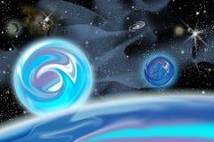 De planeten en de sterren van de kosmos stock illustratie