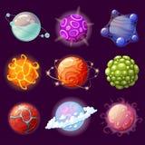 De planeten van de beeldverhaalfantasie Ruimte elementen vector illustratie