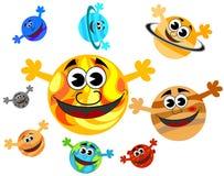 De Planeten van het zonnestelselbeeldverhaal het Glimlachen Stock Foto
