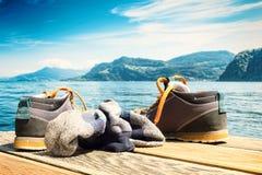 De plank van wandelingslaarzen Stock Foto's