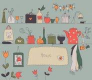 De planken uitstekende achtergrond van de keuken stock illustratie