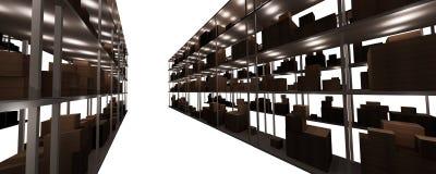 De planken van de voorraad en van het pakhuis Royalty-vrije Stock Afbeeldingen