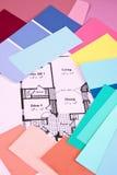 De Plannen & de Kleuren van het huis Stock Afbeeldingen