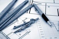 De plannen van Architectur van woon onroerende goederen Stock Afbeelding